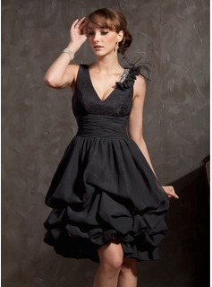 A-Line/Princess V-neck Knee-Length Chiffon Lace Cocktail Dress With Ruffle Beading Feather