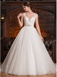 Ball-Gown Sweetheart Sweep Train Organza Tulle Lace Wedding Dress With Ruffle Beading Sequins