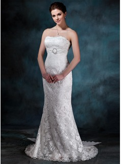 Sheath/Column Strapless Watteau Train Chiffon Charmeuse Lace Wedding Dress With Ruffle Lace Crystal Brooch (002000134)