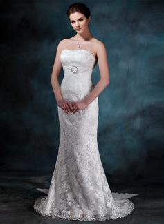 Trumpet/Mermaid Strapless Watteau Train Chiffon Lace Wedding Dress With Ruffle Crystal Brooch Bow