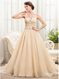 Ball-Gown V-neck Cathedral Train Tulle Lace Wedding Dress With Beading Sequins