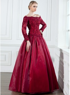 A-Line/Princess Off-the-Shoulder Floor-Length Organza Satin Mother of the Bride Dress With Lace Beading