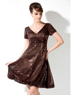 Empire V-neck Knee-Length Sequined Cocktail Dress With Ruffle
