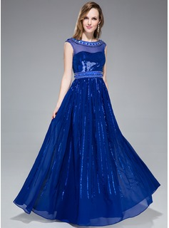 A-Line/Princess Scoop Neck Floor-Length Chiffon Tulle Sequined Prom Dress With Beading