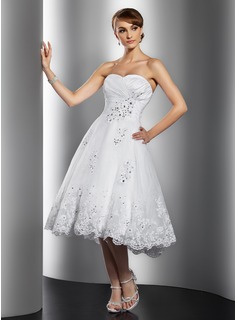 A-Line/Princess Sweetheart Knee-Length Taffeta Organza Wedding Dress With Ruffle Lace Beading Sequins
