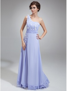 A-Line/Princess One-Shoulder Floor-Length Chiffon Prom Dress With Ruffle Appliques