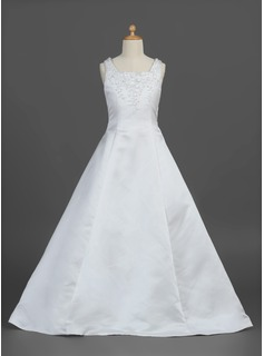 A-Line/Princess Square Neckline Floor-Length Satin Flower Girl Dress With Ruffle Beading Flower(s)