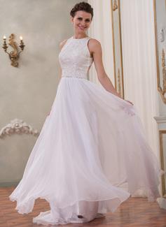 Corte A/Princesa Escote redondo Barrer/Cepillo tren Chifón Encaje Vestido de novia con Bordado Lentejuelas