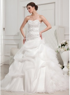 Ball-Gown Sweetheart Chapel Train Organza Satin Tulle Wedding Dress With Ruffle Lace Beadwork (002011767)