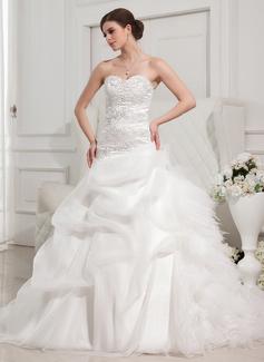 Corte de baile Escote corazón Tren de la catedral Organdí Satén Tul Vestido de novia con Volantes Encaje Bordado