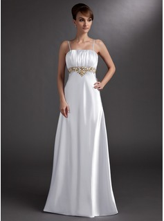 Empire Square Necklin Floor-Length Charmeuse Evening Dress With Embroidered Ruffle Beading (017002605)