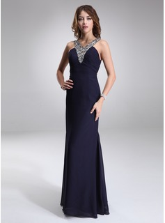 Sheath V-neck Floor-Length Chiffon Evening Dress With Ruffle Beading (017016868)