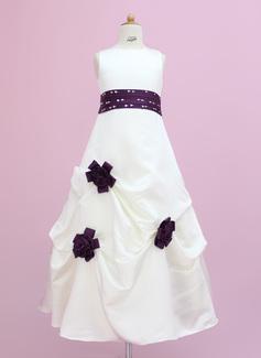 Vestidos princesa/ Formato A Longos Vestidos de Menina das Flores - Cetim Sem magas Decote redondo com Cintos/Beading/fecho de correr/lantejoulas/Escolher acima saia