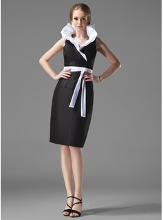 Sheath V-neck Knee-Length Taffeta Cocktail Dress With Ruffle Sash (016002913)