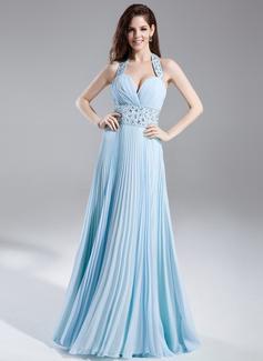 A-Line/Princess Halter Floor-Length Chiffon Prom Dress With Beading Pleated