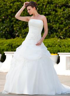 Duchesse-Linie Trägerlos Hof-schleppe Organza Brautkleid mit Rüschen Perlen verziert Applikationen Spitze