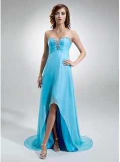 Empire Sweetheart Asymmetrical Chiffon Evening Dress With Ruffle Beading (017016370)