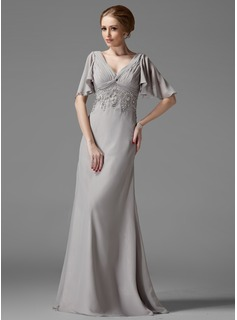 Empire V-neck Floor-Length Chiffon Mother of the Bride Dress With Ruffle Lace Beading (008003198)