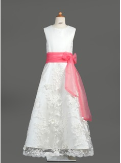 A-Line/Princess Scoop Neck Floor-Length Satin Lace Flower Girl Dress With Sash Bow(s)
