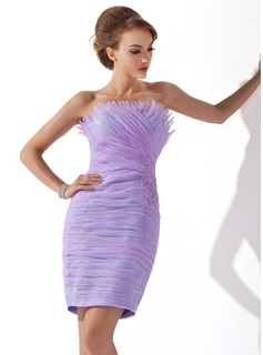 Sheath Scalloped Neck Short/Mini Organza Cocktail Dress With Ruffle Lace Beading Sequins