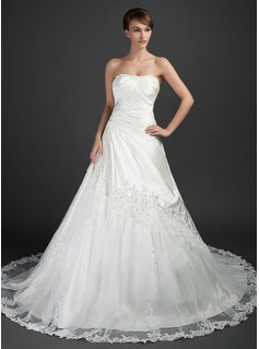 Ball-Gown Sweetheart Chapel Train Tulle Charmeuse Wedding Dress With Ruffle Lace Beadwork (002015372)