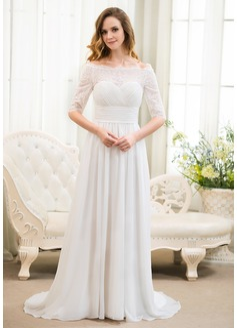Corte A/Princesa Hombros caídos Barrer/Cepillo tren Chifón Encaje Vestido de novia con Volantes Bordado Lentejuelas
