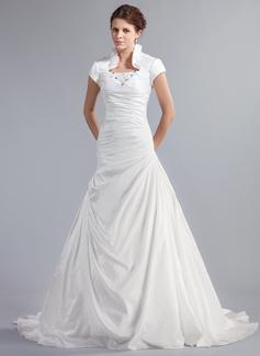 A-linjeformat Hög hals Kapell Tåg Taft Bröllopsklänning med Pärlbrodering Svallande Krås