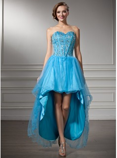 A-Line/Princess Sweetheart Asymmetrical Tulle Charmeuse Homecoming Dress With Beading Sequins