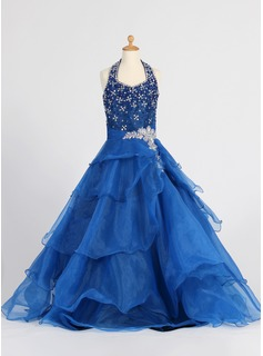 A-Line/Princess Halter Floor-Length Organza Flower Girl Dress With Beading Sequins Cascading Ruffles
