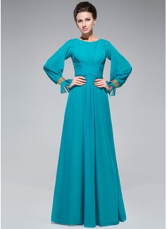 Vestidos princesa/ Formato A Decote redondo Longos De chiffon Vestido para a mãe da noiva com Pregueado Bordado Lantejoulas