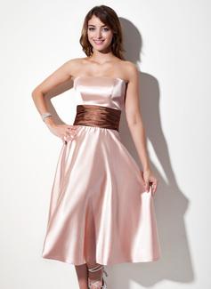 A-Line/Princess Strapless Tea-Length Charmeuse Bridesmaid Dress With Sash
