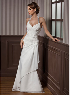 Sheath/Column Halter Floor-Length Chiffon Satin Wedding Dress With Ruffle Lace Beadwork Sequins (002012582)