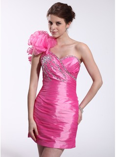 Sheath One-Shoulder Short/Mini Taffeta Organza Cocktail Dress With Ruffle Beading (016026266)