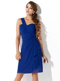 Sheath One-Shoulder Knee-Length Chiffon Homecoming Dress With Ruffle