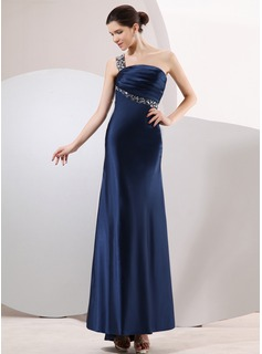 Sheath One-Shoulder Asymmetrical Charmeuse Evening Dress With Ruffle Beading (017014069)