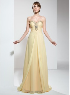 Empire Sweetheart Sweep Train Chiffon Prom Dress With Ruffle Beading Sequins (018022474)