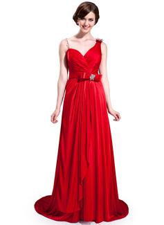 A-Linie/Princess-Linie Herzausschnitt Sweep/Pinsel zug Charmeuse Brautjungfernkleid mit Rüschen Perlen verziert Schleife(n)
