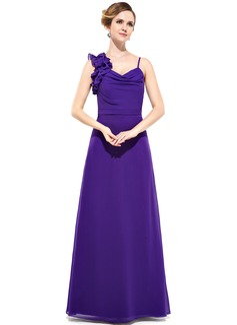 Sheath/Column Cowl Neck Floor-Length Chiffon Bridesmaid Dress With Cascading Ruffles