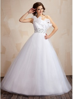 Ball-Gown One-Shoulder Floor-Length Organza Tulle Quinceanera Dress With Ruffle Beading Sequins (021021816)