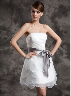 A-Line/Princess Strapless Short/Mini Organza Wedding Dress With Ruffle Sash Bow(s)