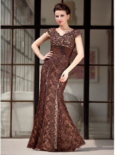 Mermaid V-neck Floor-Length Taffeta Lace Mother of the Bride Dress With Beading