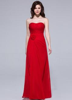 Vestido tubo Escote corazón Vestido Chifón Dama de honor con Volantes Encaje Flores