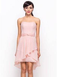 A-Line/Princess Sweetheart Asymmetrical Chiffon Bridesmaid Dress With Cascading Ruffles