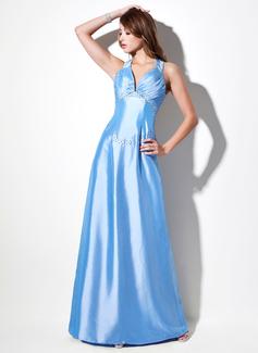 A-Line/Princess Sweetheart Floor-Length Taffeta Evening Dress With Ruffle Beading