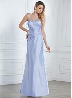 Sheath/Column Sweetheart Floor-Length Taffeta Bridesmaid Dress With Ruffle Beading