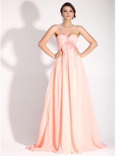 Empire One-Shoulder Sweep Train Chiffon Holiday Dress With Ruffle Beading Appliques (020016072)