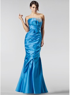 Mermaid Scalloped Neck Floor-Length Satin Prom Dress With Ruffle Beading Sequins (018005222)