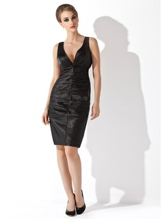 Sheath V-neck Knee-Length Charmeuse Cocktail Dress With Ruffle