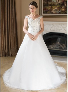 A-Line/Princess Off-the-Shoulder Chapel Train Satin Organza Wedding Dress With Embroidered Beading Sequins