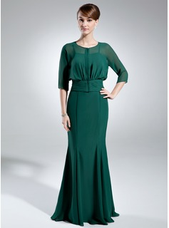 Mermaid Sweetheart Floor-Length Chiffon Mother of the Bride Dress (008005655)